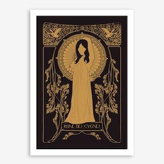Reine Des Cygnes In Gold Art Print