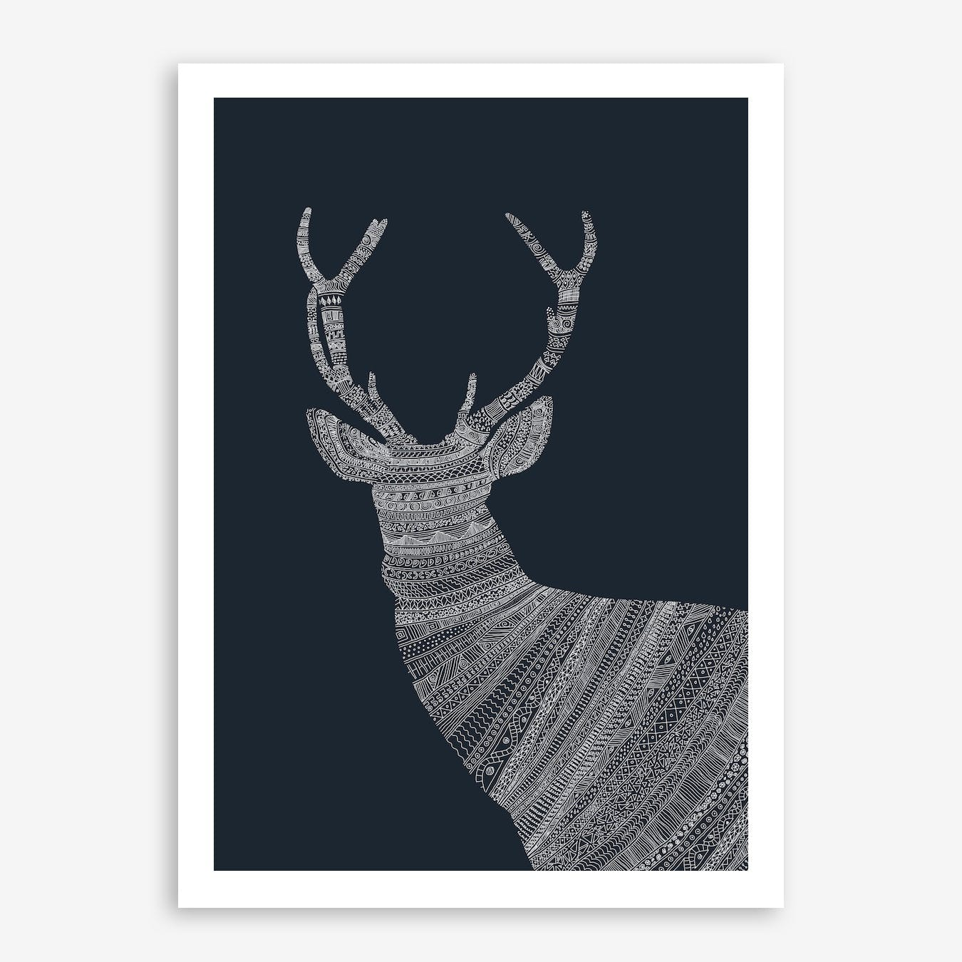 White Stag On Blue Print