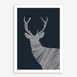 White Stag On Blue Art Print