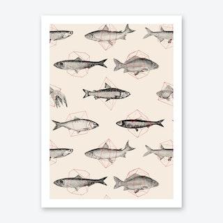 Fishes In Geometrics Art Print