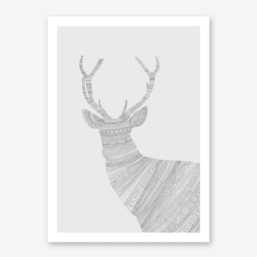 Grey Stag On Grey Print