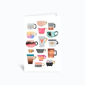 Coffee Cup Collection Greetings Card