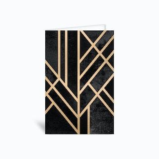 Art Deco Geometry Black Greetings Card