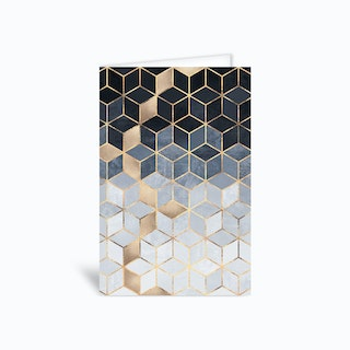 Soft Blue Gradient Cubes Greetings Card