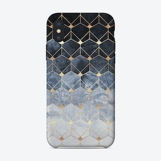 Blue Hexagons And Diamonds iPhone Case