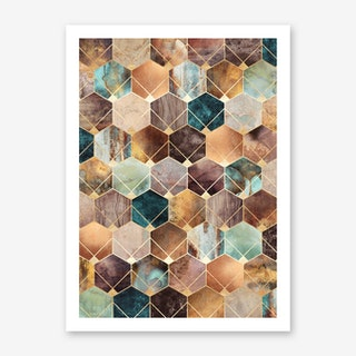 Natural Hexagons And Diamonds Art Print