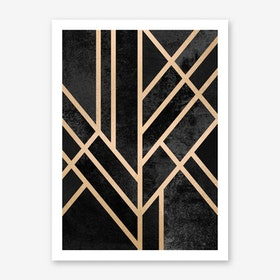 Art Deco Geometry Black Art Print