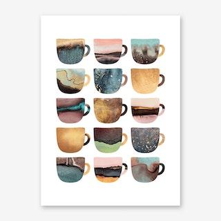 Pretty Earthy Coffee Cups Art Print