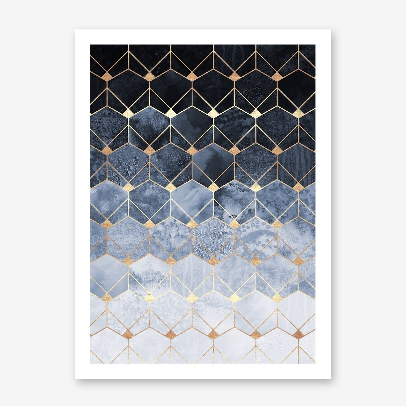 Blue Hexagons And Diamonds Print