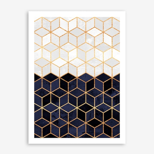 White And Navy Cubes Print