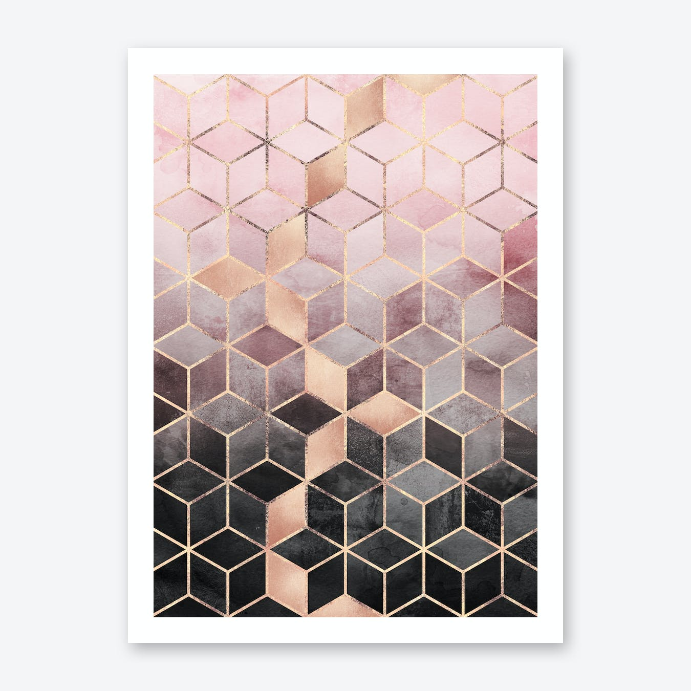 Pink and Grey Gradient Cubes Art Print