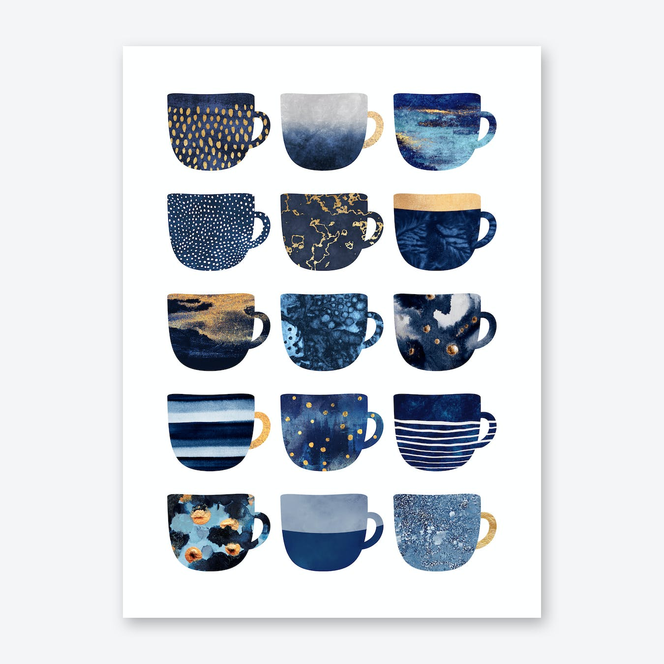 Pretty Blue Coffee Cups Art Print