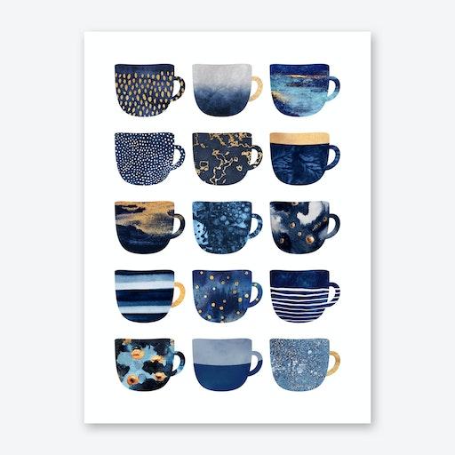 Pretty Blue Coffee Cups Art Print