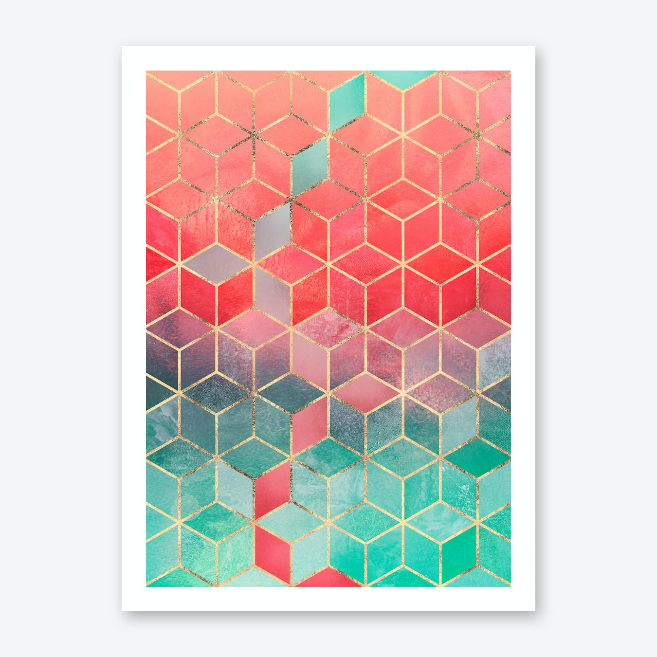 Rose And Turquoise Cubes Print