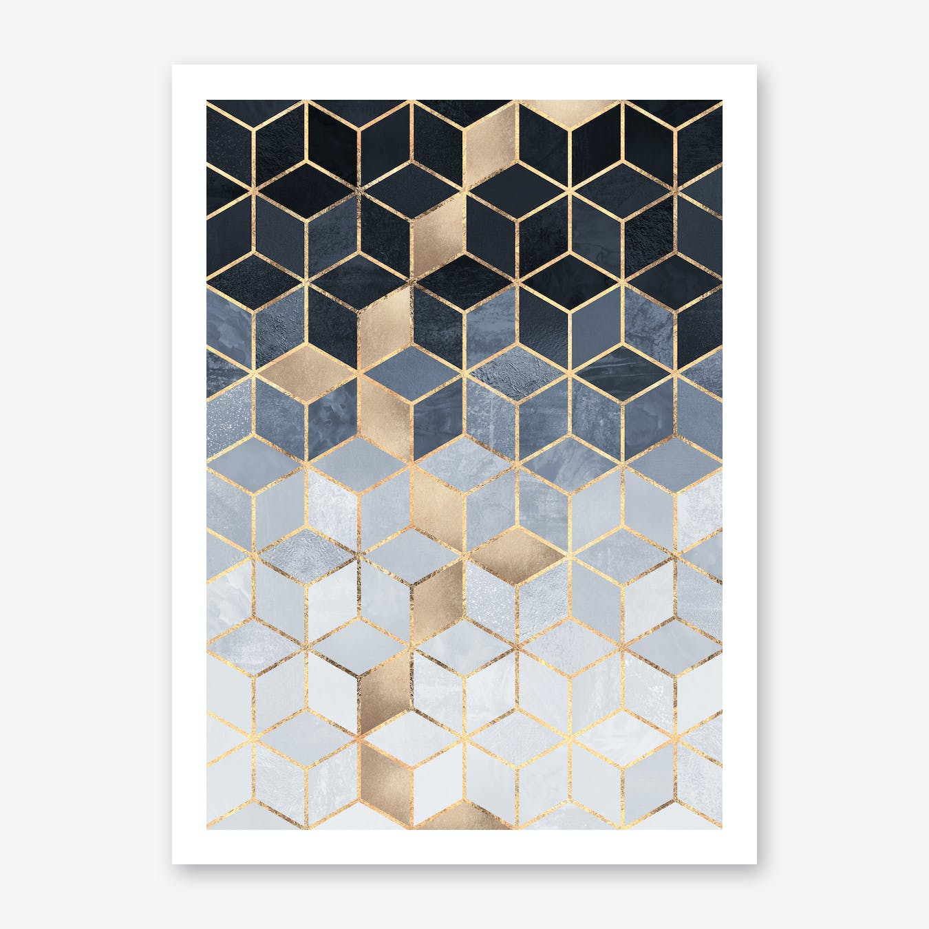 Soft Blue Gradient Cubes Art Print