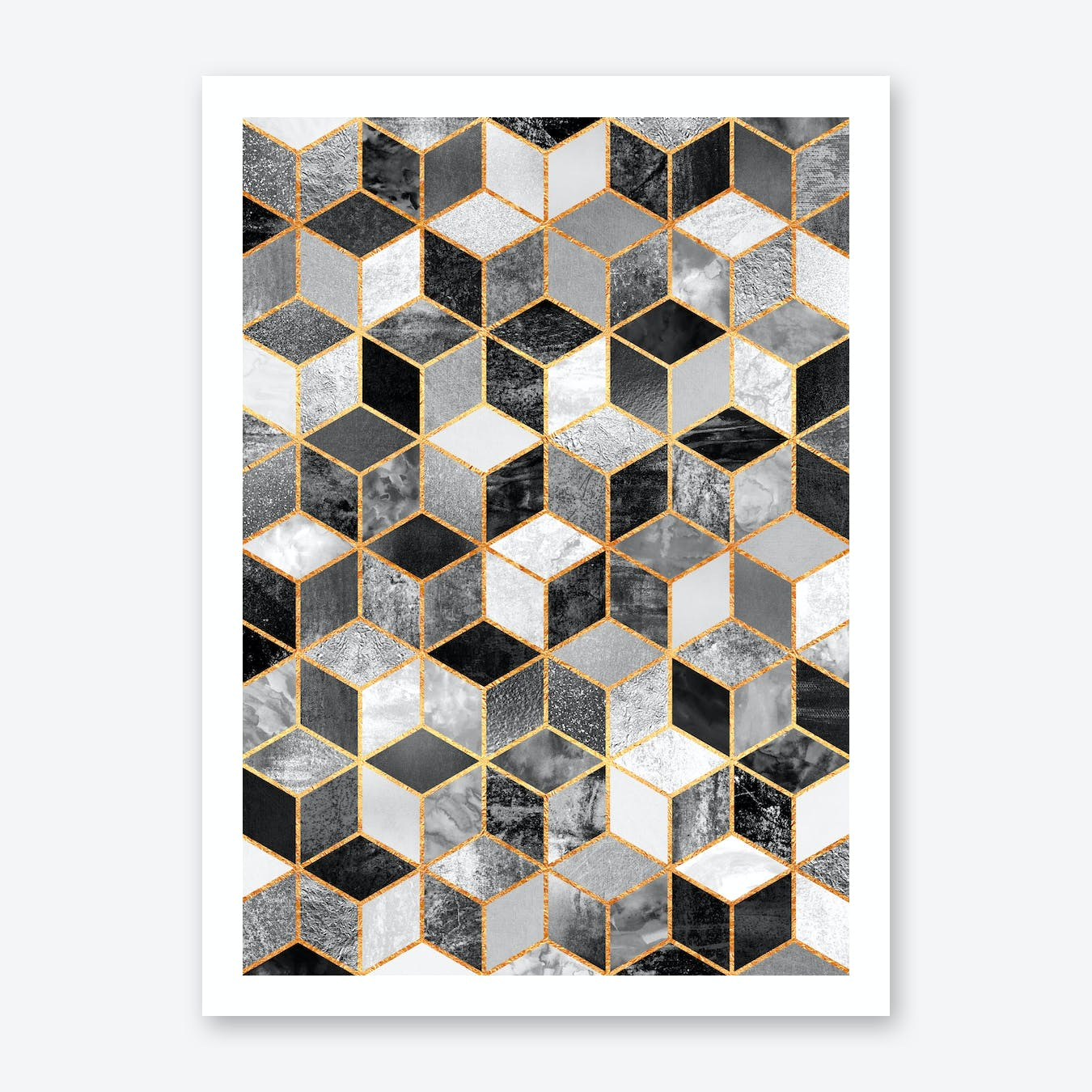 Black And White Cubes Art Print