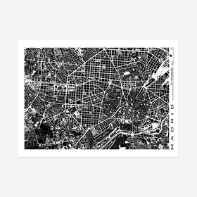 Madrid Black & White Map Art Print