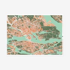Estocolmo Orange Map Art Print