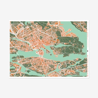 Estocolmo Orange Map Art Print