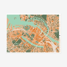 Copenhague Orange Map Art Print