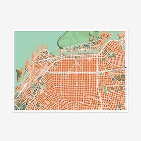 Buenos Aires Orange Map Print