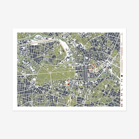 Berlin Grabado Map Art Print