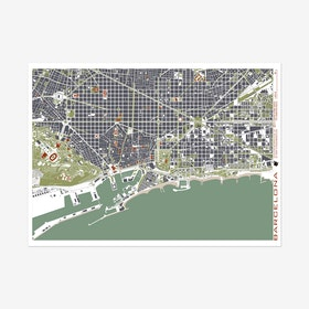 Barcelona Engraving Map Art Print