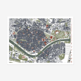 Seville Engraving Map Art Print