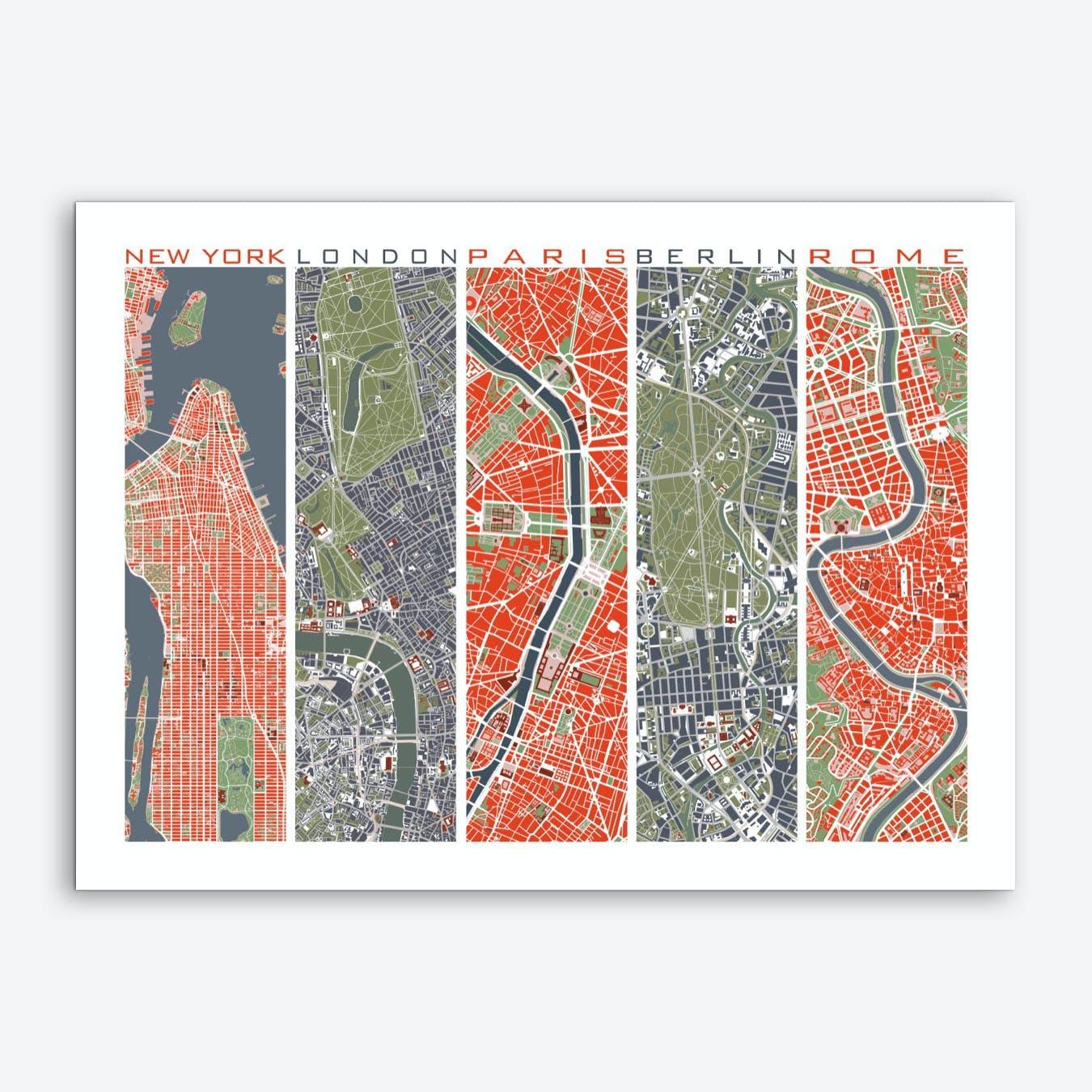 Five cities  Art Print