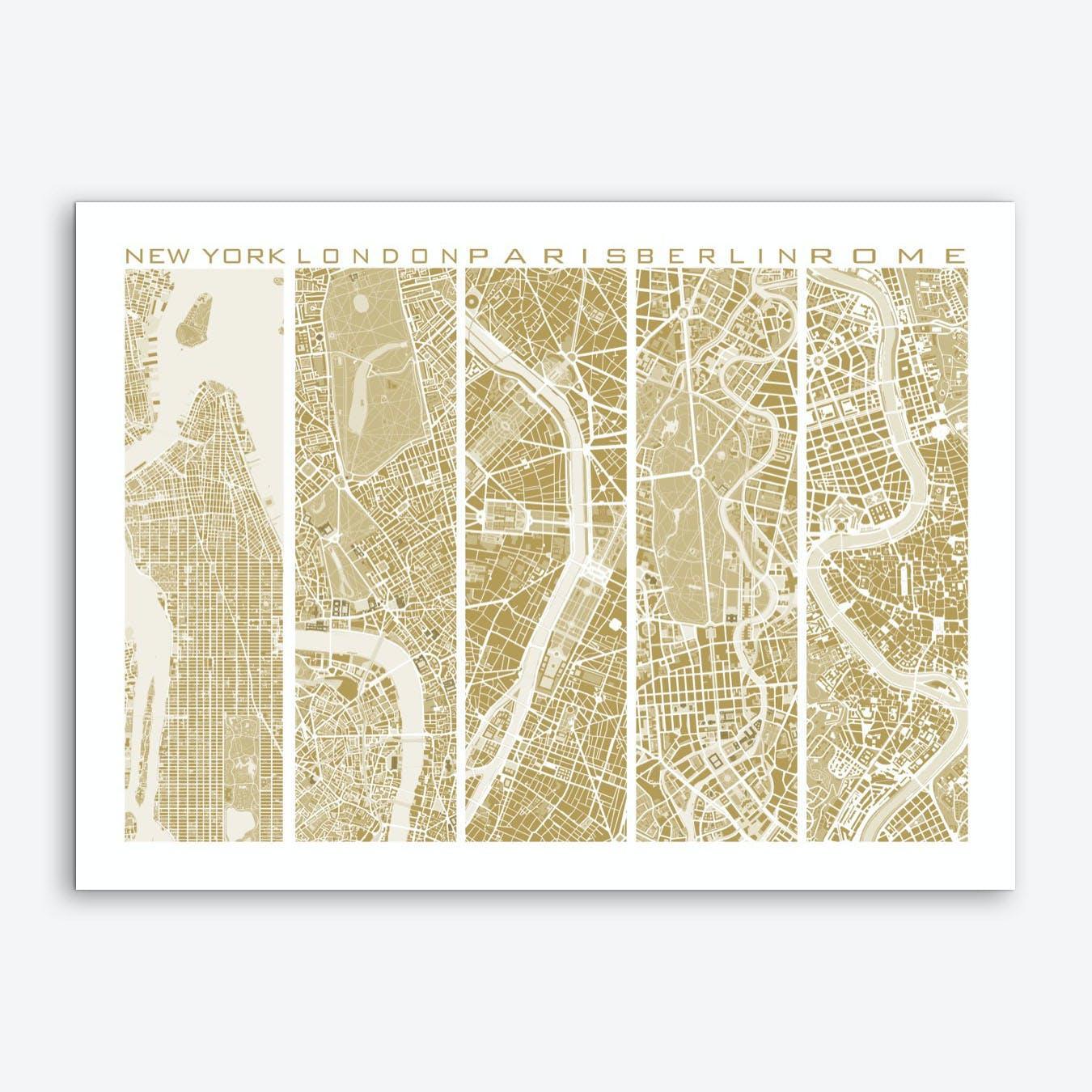 Five cities gold Art Print