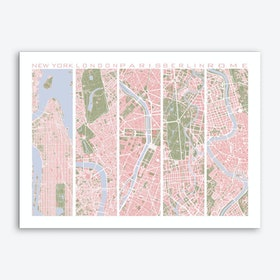 Five cities vintage Art Print