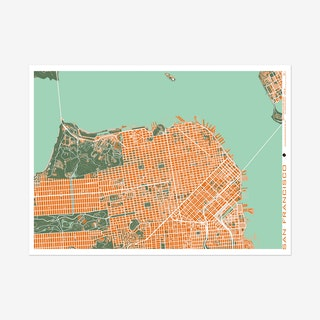 San Francisco Orange Map Art Print
