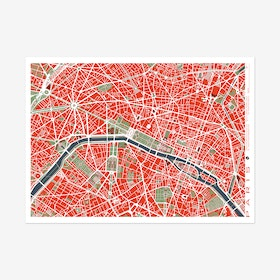 Paris Classic Map Art Print