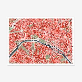 Paris Classic Map Art Print