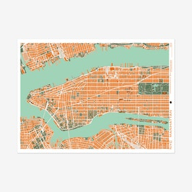 New York Orange Map Print