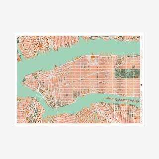 New York Orange Map Art Print