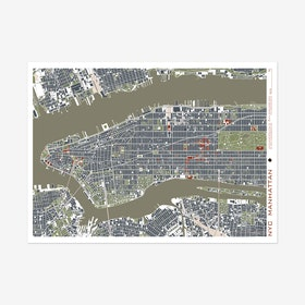New York Engraving Map Art Print