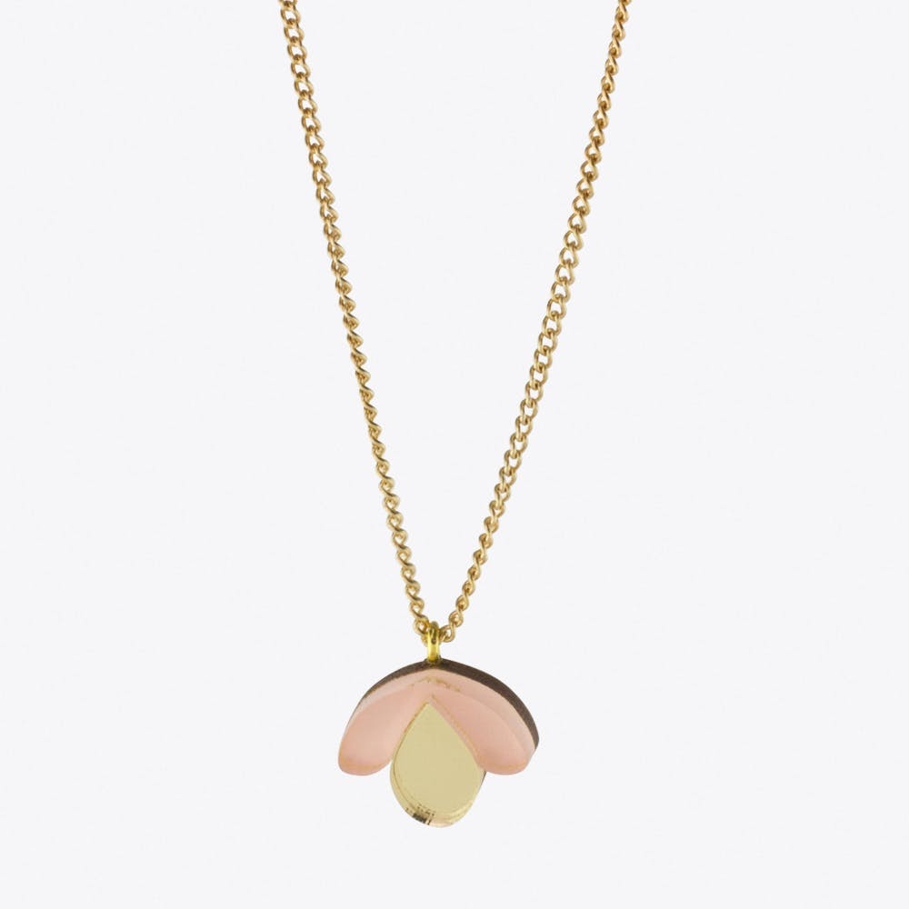 Bloom Bud Necklace Peach & Gold
