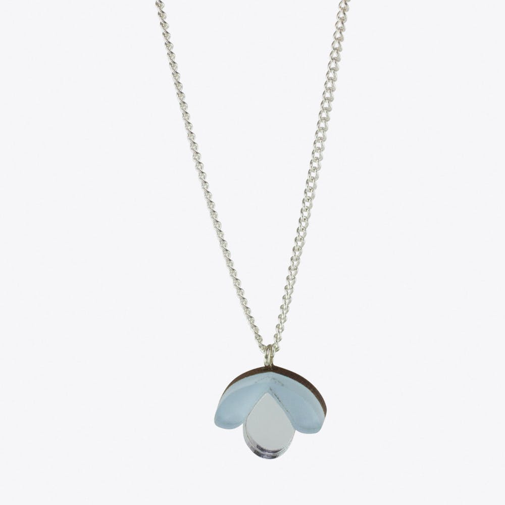 Bloom Bud Necklace Pastel Blue & Silver