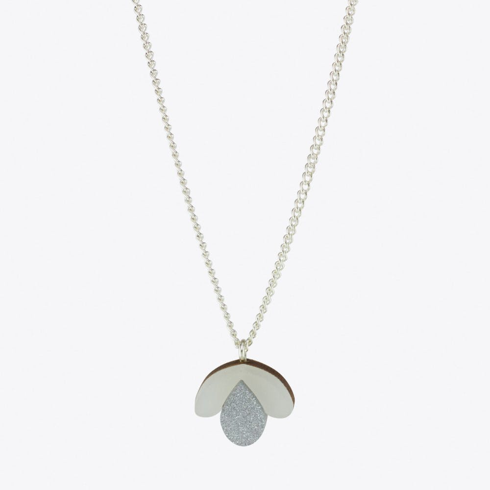 Bloom Bud Necklace White & Silver Glitter