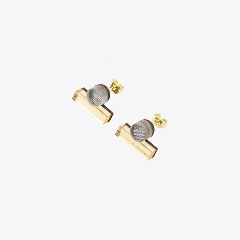 Dot Dash Studs Metallic Grey and Gold