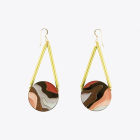 Marble Circle Earrings Apricot