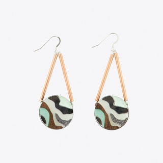 Marble Circle Earrings Mint