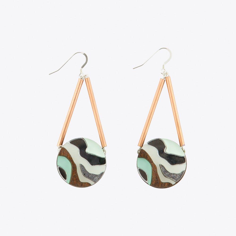 Marble Circle Earrings Mint