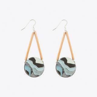 Marble Circle Earrings Pastel Blue