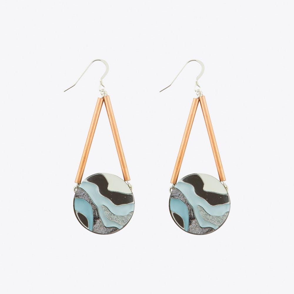 Marble Circle Earrings Pastel Blue