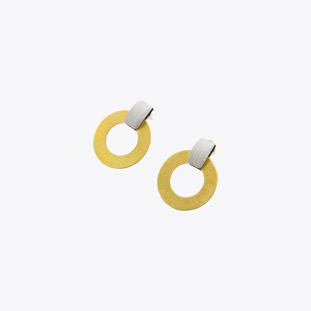 Disc Hoop Earrings White