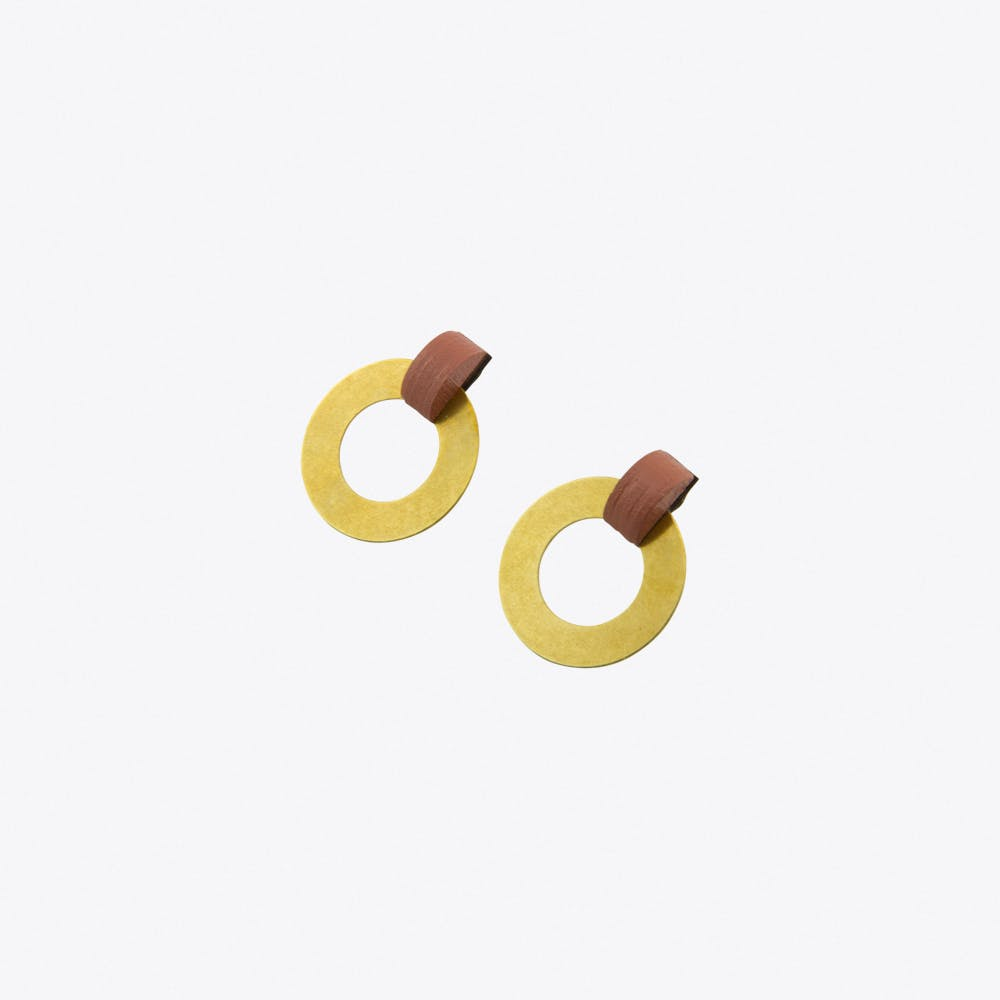 Disc Hoop Earrings Dusky Rose