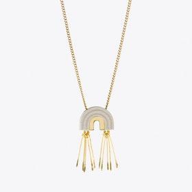 Mini Tassel Arch Necklace White