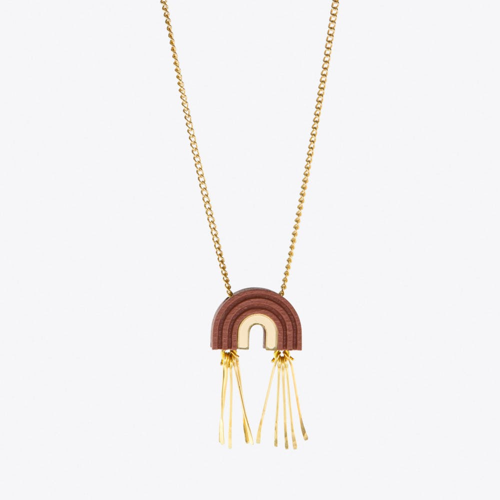 Mini Tassel Arch Necklace Dusky Rose